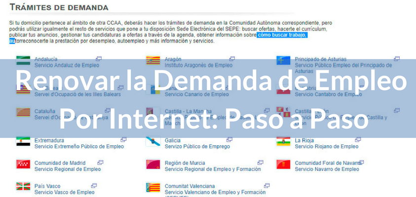 Renovar la demanda de empleo por internet paso a paso