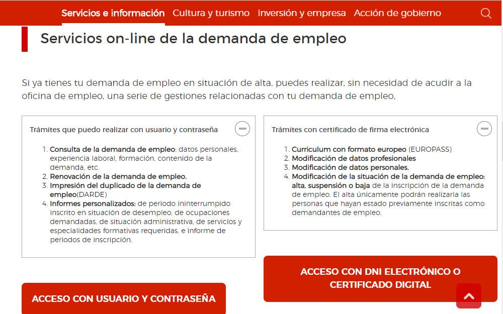 renovar la demanda de empleo por internet y sellar el paro por internet en la comunidad de madrid