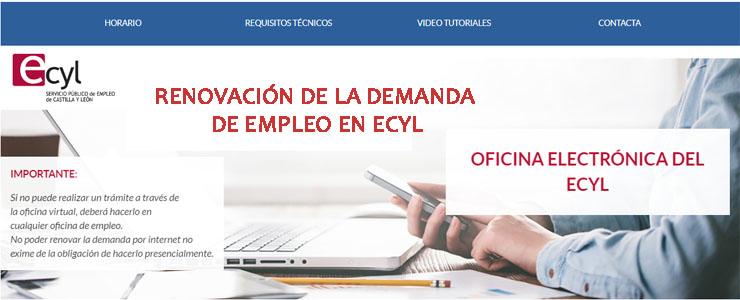 renovar la demanda de empleo en ecyl por inerrnet y renovación por telefono y en oficinas de castilla y leon