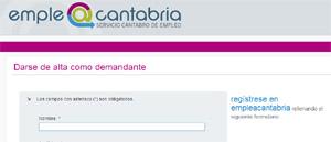 Inscripción como demandante de Empleo Cantabria