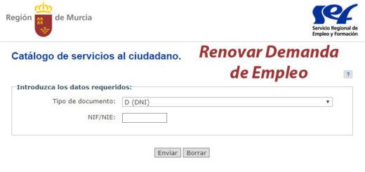 sellar el paro por Internet en Murcia y renovar la demanda de empleo